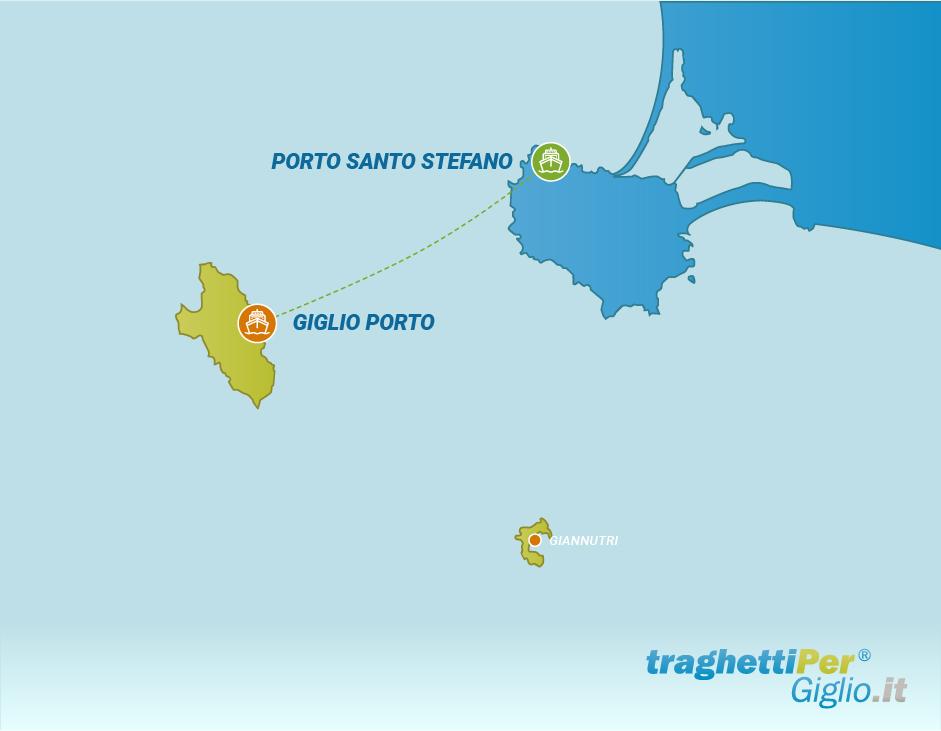 Routes from Porto Santo Stefano to Giglio Porto